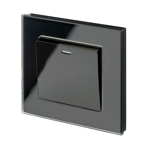 RetroTouch 1 Gang 1 or 2 Way 10A Rocker Light Switch Black Glass PG 00202
